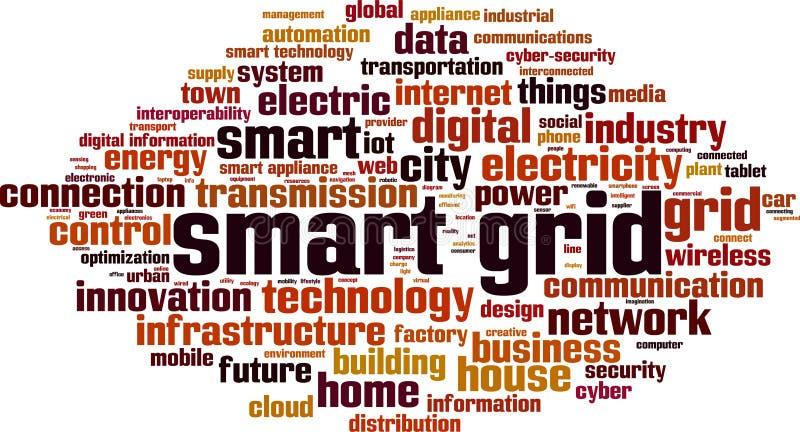 Smart grid word cloud vector illustration
