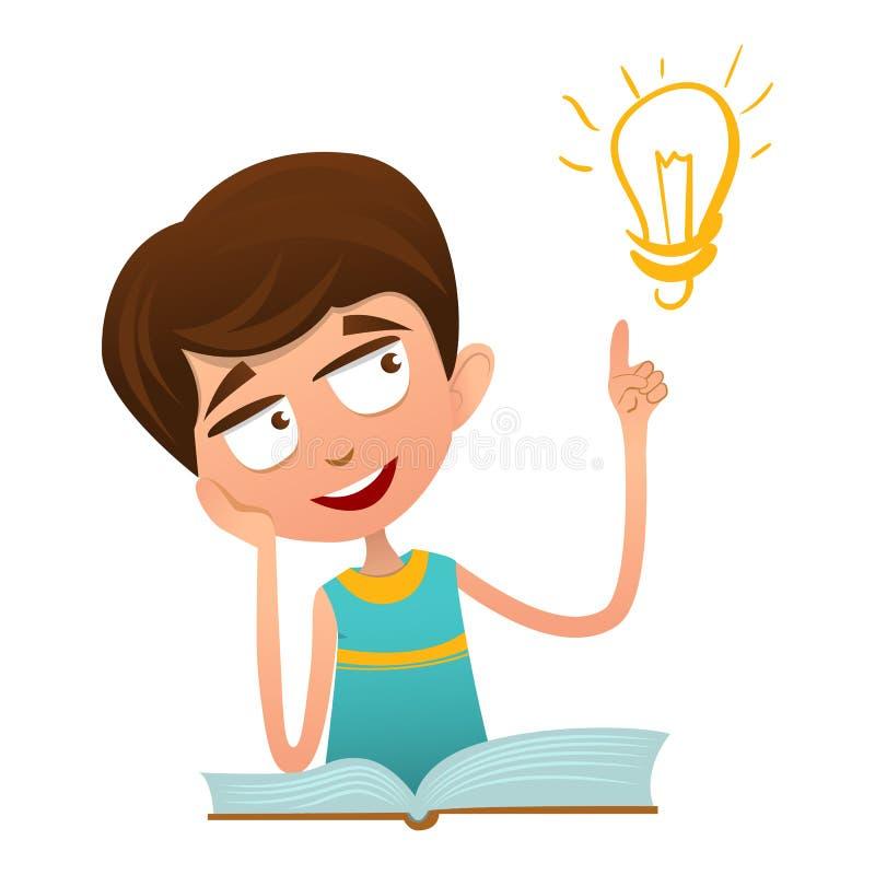 Smart gulligt behandla som ett barn pojkesammanträde på en bok och ett innehav ett finger upp och över lampan stock illustrationer