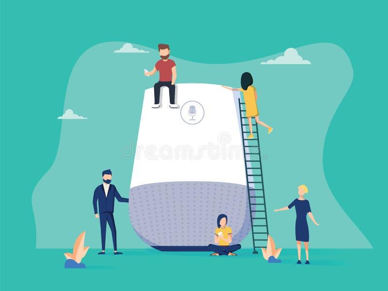 Smart högtalare med den faktiska illustrationen för assistentbegreppsvektor av folk som står near högtalaresymbol genom att använ royaltyfri illustrationer