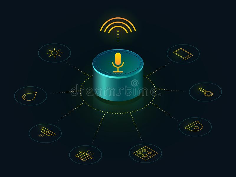 Smart högtalare med stämmakontroll av ditt hem stock illustrationer