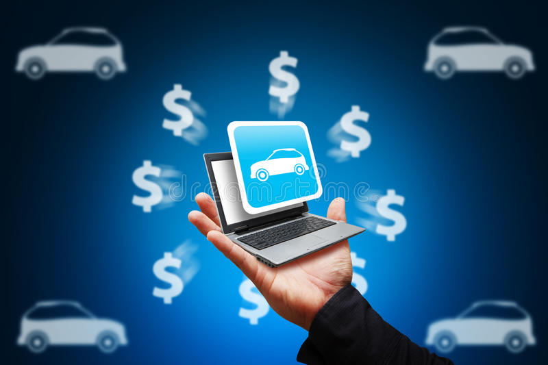 Download Smart Hand Hold The Car Icon From Laptop Stock Illustration - Image: 26633681