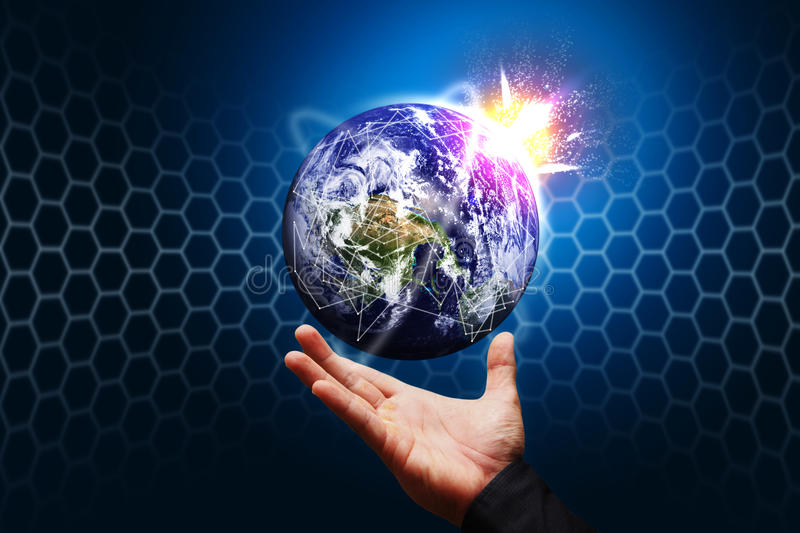 Smart hand hold the world stock image