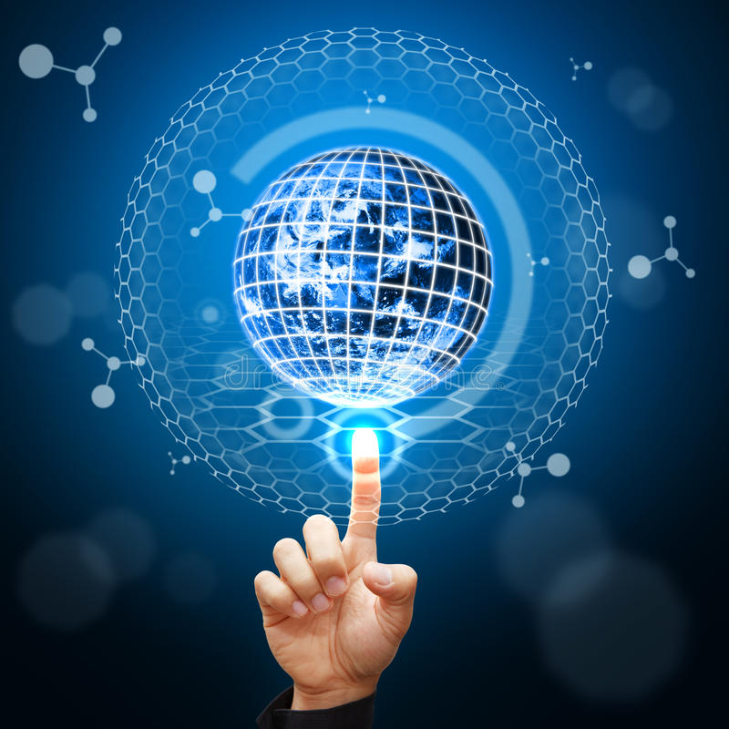 Smart hand point to digital world background stock photo