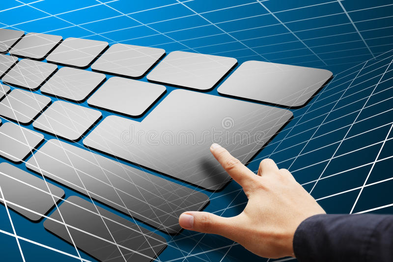Download Smart Hand Press Keyboard Button Stock Photo - Image: 24356548