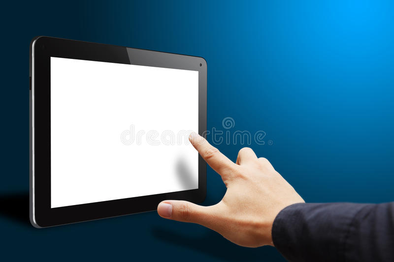 Smart hand touch empty screen tablet. Pc stock image