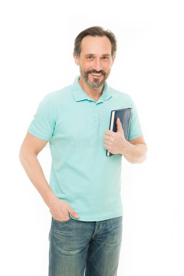 Smart and handsome. Mature student back to school. Senior business coach holding book. Elderly businessman studying in. Business school. Bearded man reading royalty free stock image