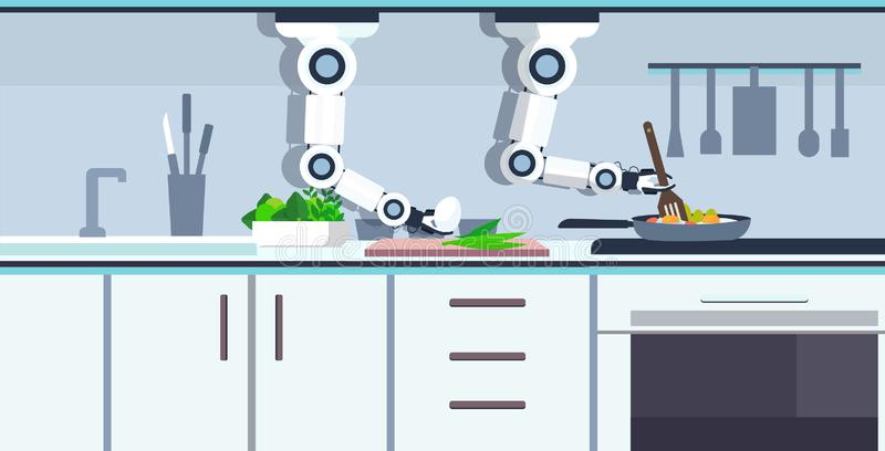 Smart handy chef robot preparing fried eggs in frying pan robotic assistant innovation technology artificial vector illustration