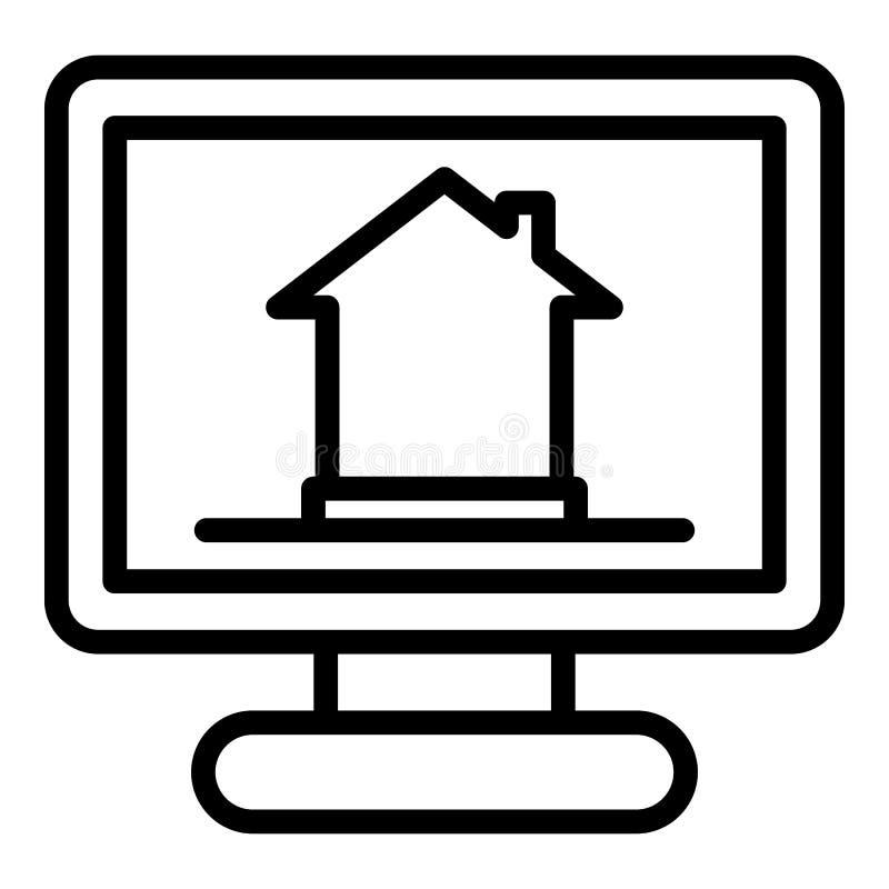 Smart hem- övervakningsymbol, översiktsstil vektor illustrationer