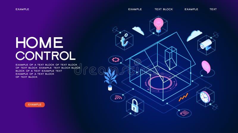 Smart hem- baner för kontrollbegrepp royaltyfri illustrationer