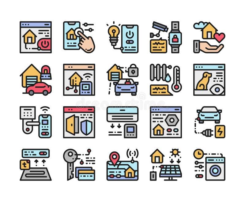 Smart hem- färglinje symbolsuppsättning Internet av sakerteknologi av systemet f?r hem- automation Tecken f?r webbsidan, mobil ap vektor illustrationer