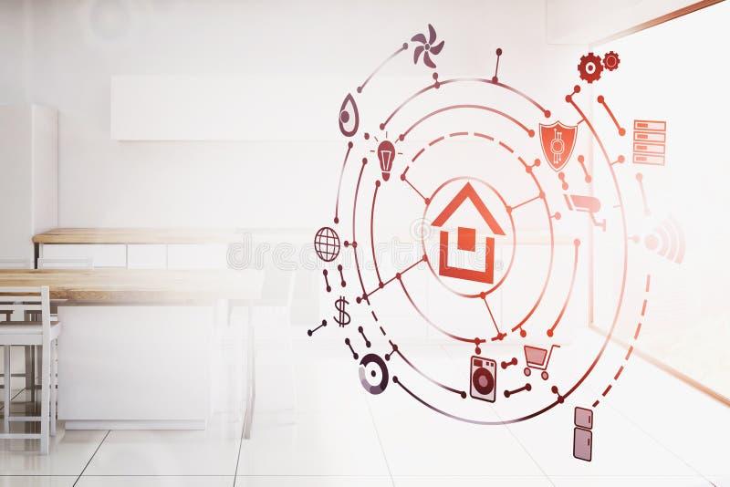 Smart hem- manöverenhet i vitt kök stock illustrationer