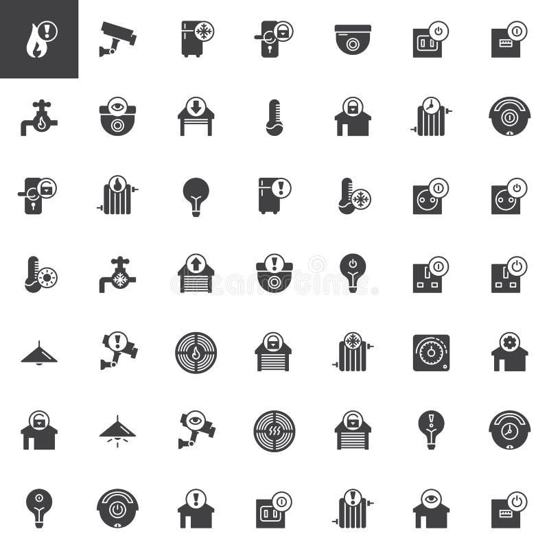 Smart hem och uppsättning för teknologivektorsymboler royaltyfri illustrationer