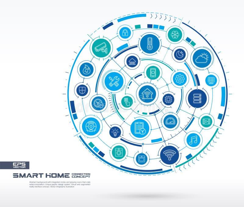 Smart hem- teknologibakgrund för abstrakt begrepp Digital förbinder systemet med inbyggda cirklar, den glödande tunna linjen symb stock illustrationer