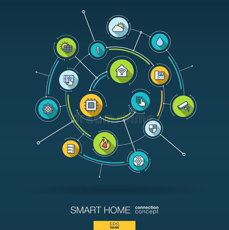 Smart hem- teknologibakgrund för abstrakt begrepp Digital förbinder systemet med inbyggda cirklar, den tunna linjen symboler för  stock illustrationer