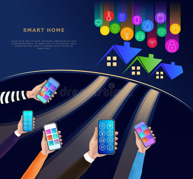 Smart hem- teknologibegrepp p? m?rk bakgrund Husautomationsystem med tr?dl?s centraliserad kontroll till och med den mobila appen royaltyfri illustrationer