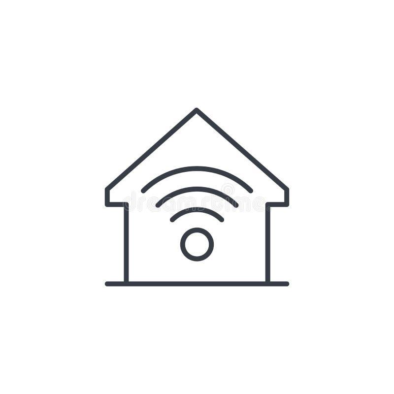 Smart hem, trådlös teknologi, tunn linje symbol för digitalt hus Linjärt vektorsymbol royaltyfri illustrationer