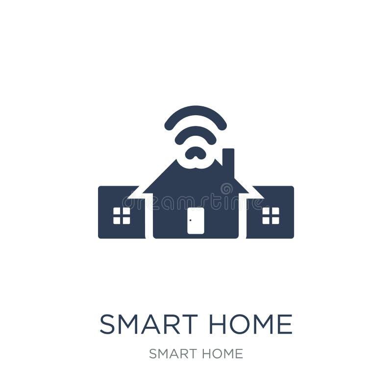 Smart hemsymbol Smart hem- symbol för moderiktig plan vektor på vit bac royaltyfri illustrationer