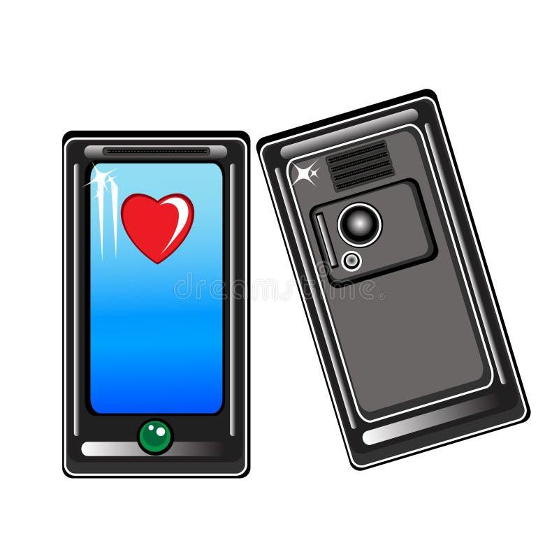 smart hjärtatelefon royaltyfri illustrationer