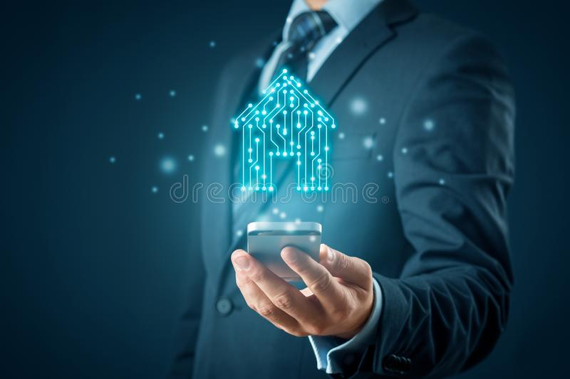 Smart home app concept stock illustration