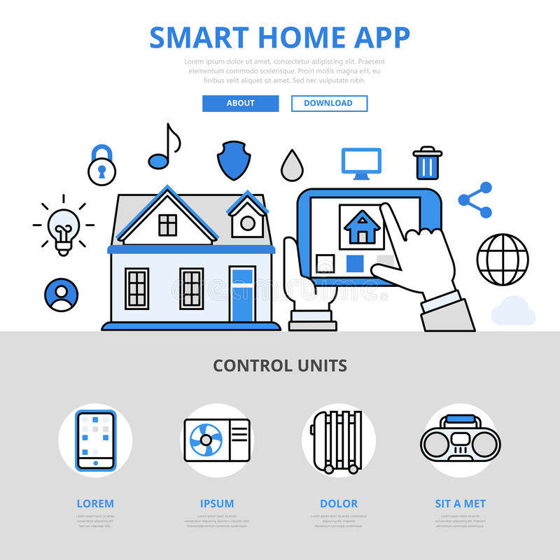 Smart home app mobile concept flat line art vector icons stock illustration