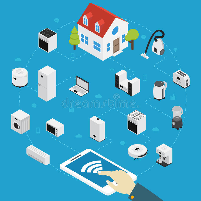 Smart Home Appliances Isometric Composition vector illustration