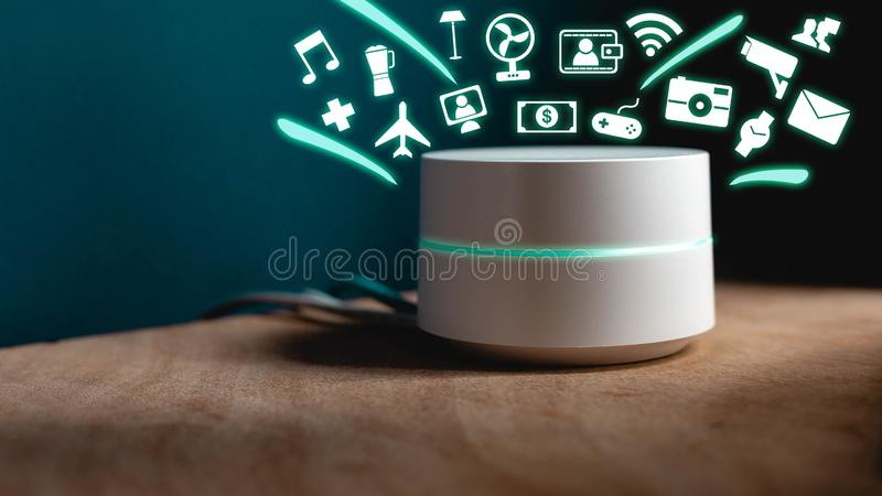 Smart Home assistant device, Virtual assistant , Artificial intelligence, Home control internet of things stock photos