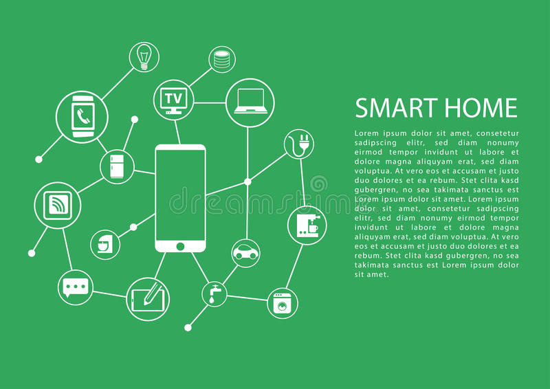 Smart home automation concept with mobile phone connected to network of devices. royalty free illustration