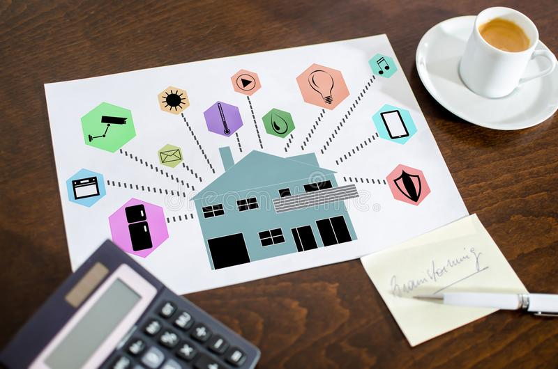 Smart home automation concept on a paper stock photos