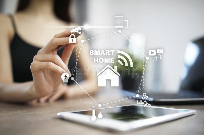 Smart home automation concept on virtual screen. royalty free stock photography
