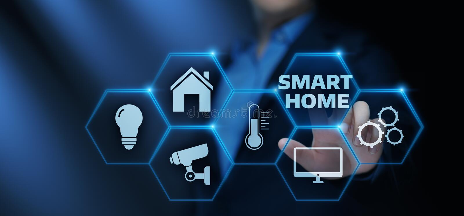 Smart home Automation Control System. Innovation technology internet Network Concept stock illustration