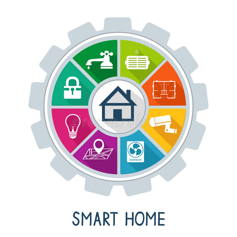 Smart home automation technology concept. Utilities safety security power and temperature control icons vector illustration stock illustration