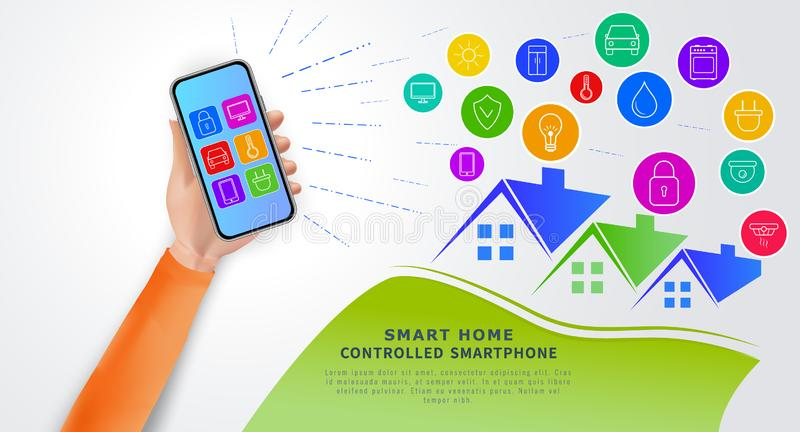 Smart home automation technology concept. Eco friendly modern house. Hand holding smartphone mobile app for remote home control royalty free illustration