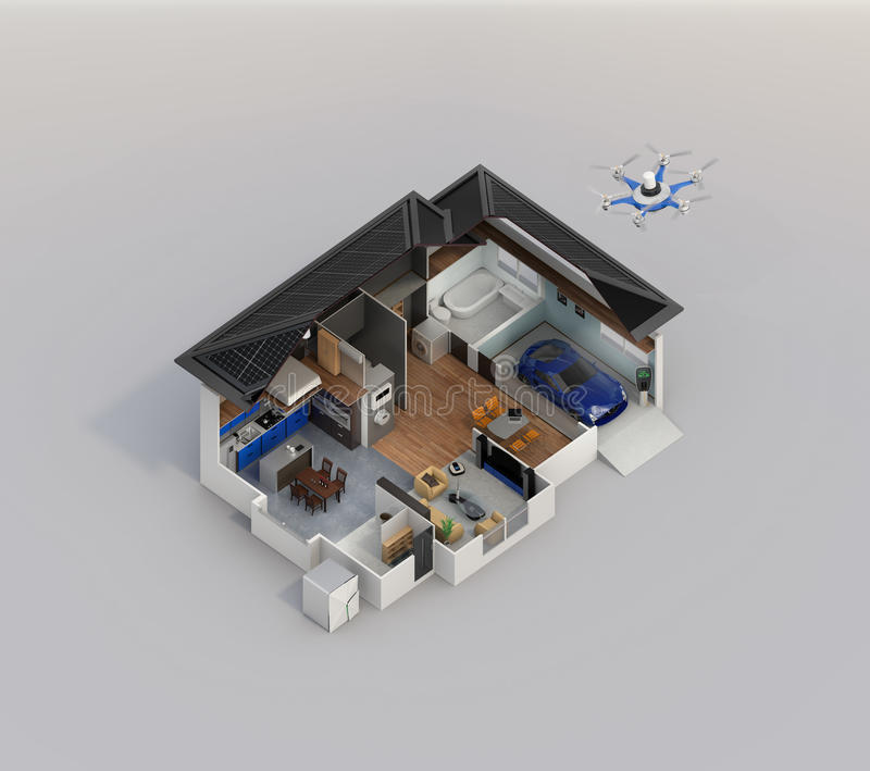 Smart home automation technology concept image with copy space stock illustration