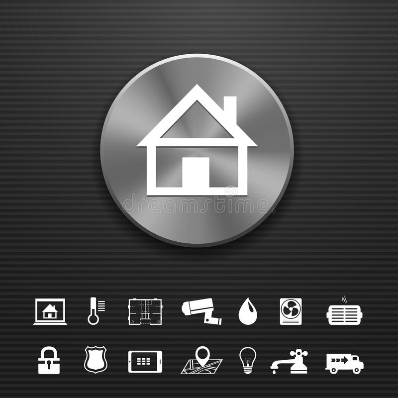 Smart home automation technology metal button. Template with utilities icons set vector illustration royalty free illustration