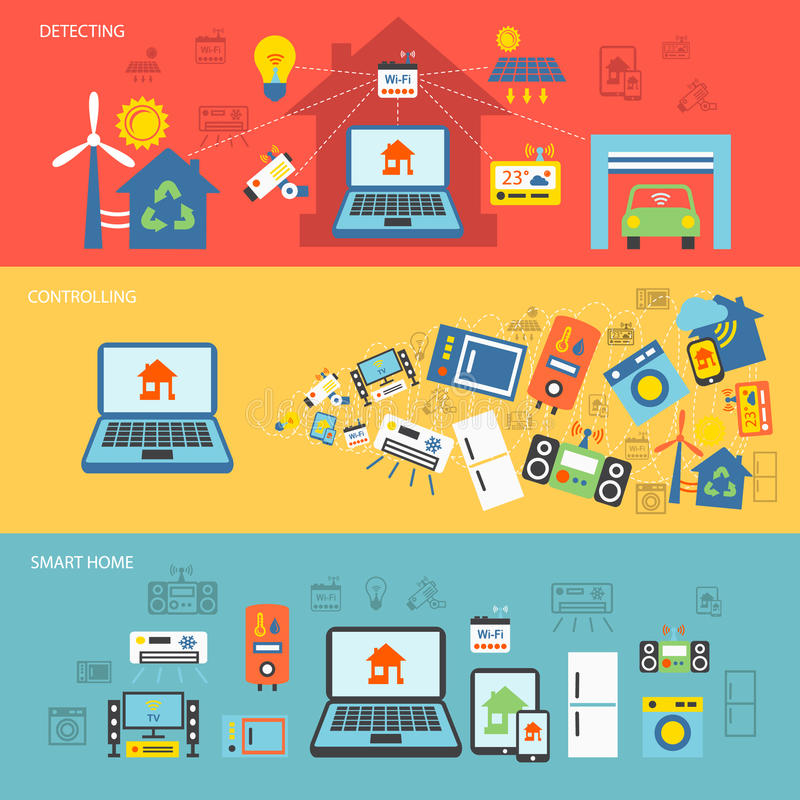 Smart home banner flat set vector illustration