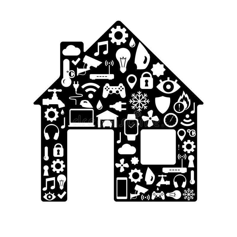 Smart home black and white silhouette royalty free illustration
