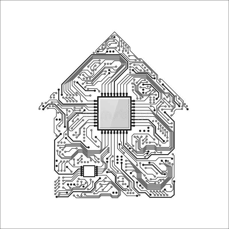 Smart Home Concept. Circuit House with CPU. Future Technology Background. Vector Illustration royalty free illustration