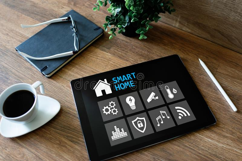 Smart home concept, control panel software on device screen. Smart home concept, control panel software on device screen royalty free stock photos
