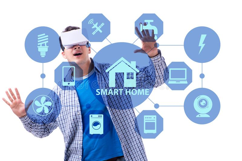 The smart home concept with devices and appliances royalty free stock image