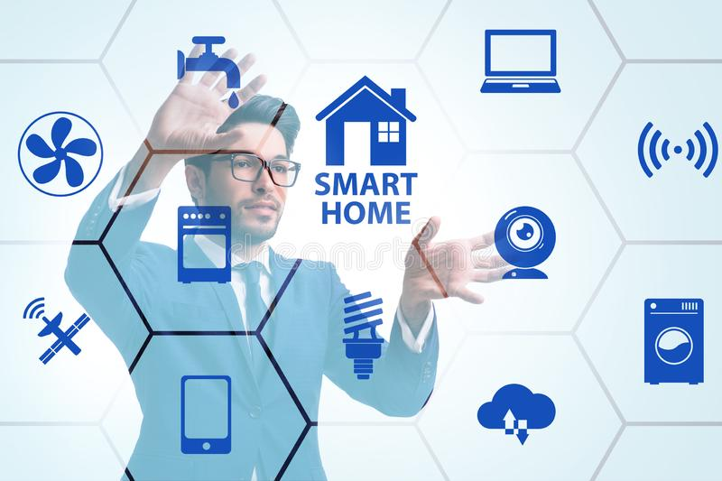The smart home concept with devices and appliances. Smart home concept with devices and appliances vector illustration