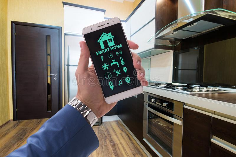 Smart home concept with devices and appliances. The smart home concept with devices and appliances royalty free stock photography