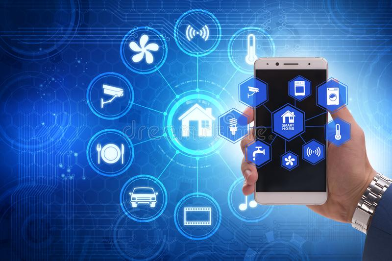 Smart home concept with devices and appliances. The smart home concept with devices and appliances stock photography