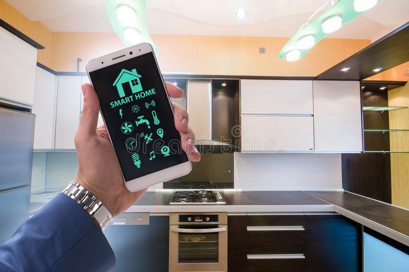 Smart home concept with devices and appliances. The smart home concept with devices and appliances royalty free stock photo