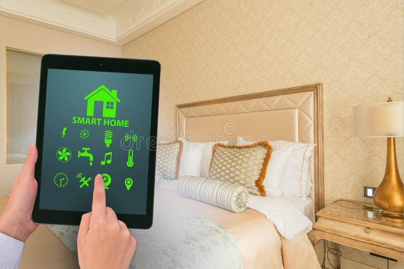 Smart home concept with devices and appliances. The smart home concept with devices and appliances royalty free stock photos