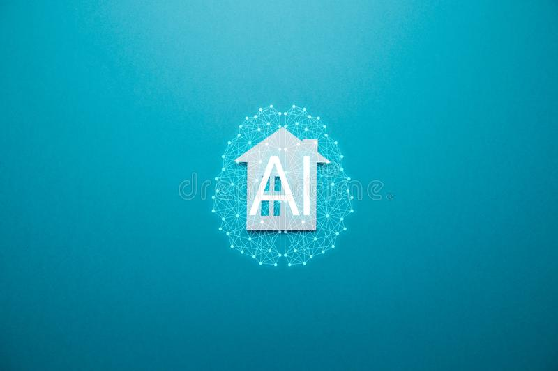 Smart home concept. Minimalistic house on blue background. Concept AIArtificial Intelligence. Neural networks, machine and deep learning, and another modern royalty free stock photography