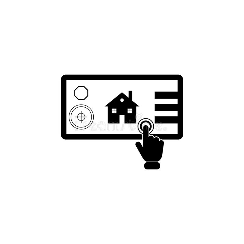 Smart home concept on touch screen icon. Element of touch screen technology icon. Premium quality graphic design icon. Signs and s. Ymbols collection icon for stock illustration