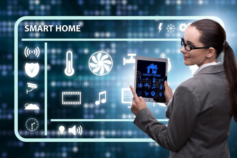 The smart home concept with woman royalty free stock images