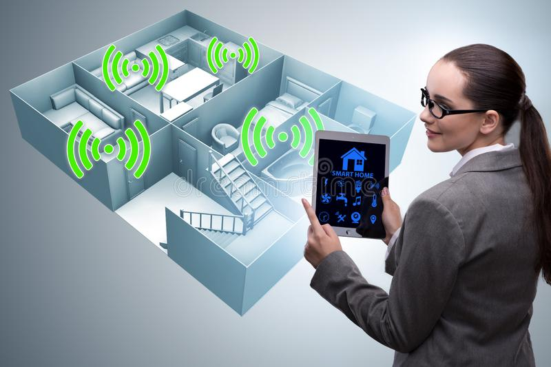 The smart home concept with woman royalty free stock photo