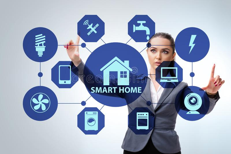 Smart home concept with woman royalty free stock photo