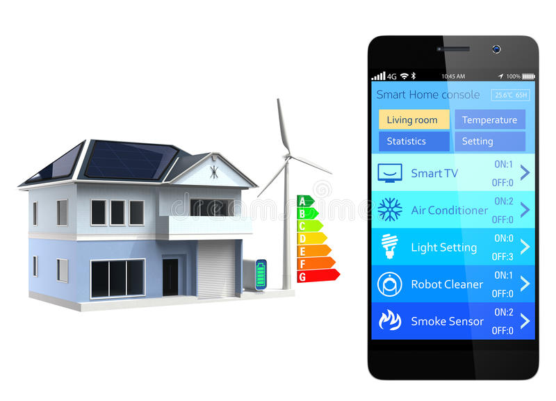 Smart home console. Home energy management system app for smartphone. Original design vector illustration